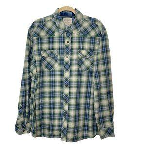 Madison Vintage Wash Green Blue Plaid Shirt XL